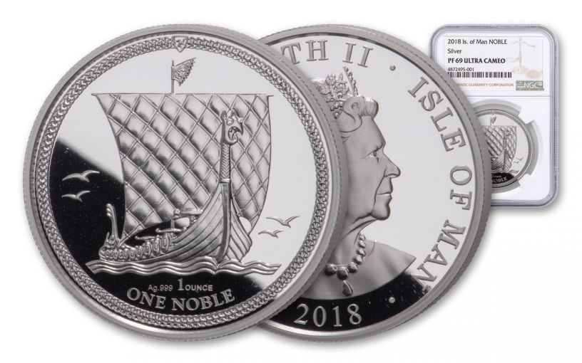 2018 Isle of Man 1-oz Silver Noble NGC PF69UC