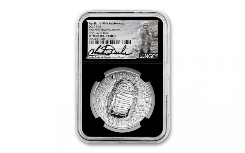 2019-P Apollo 11 50th Anniversary 1-oz Silver Dollar NGC PF70UC First Day of Issue - Charlie Duke Signed Label