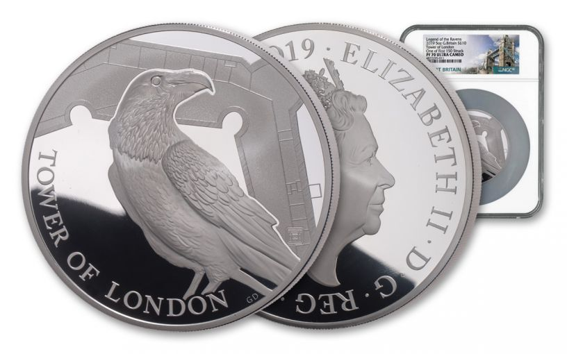 2019 Great Britain £10 5-oz Silver Tower of London Ravens NGC PF70UC First Strike