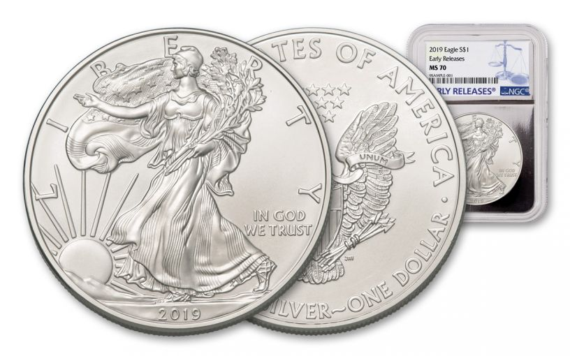 2019 $1 1-oz Silver American Eagle NGC MS70 Early Releases - Silver Foil Core