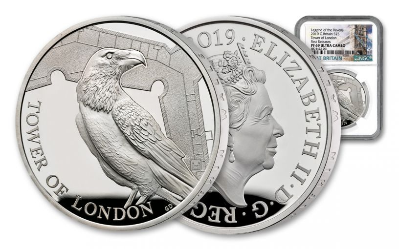 2019 Great Britain £5 Silver Tower of London Ravens NGC PF69UC First Releases