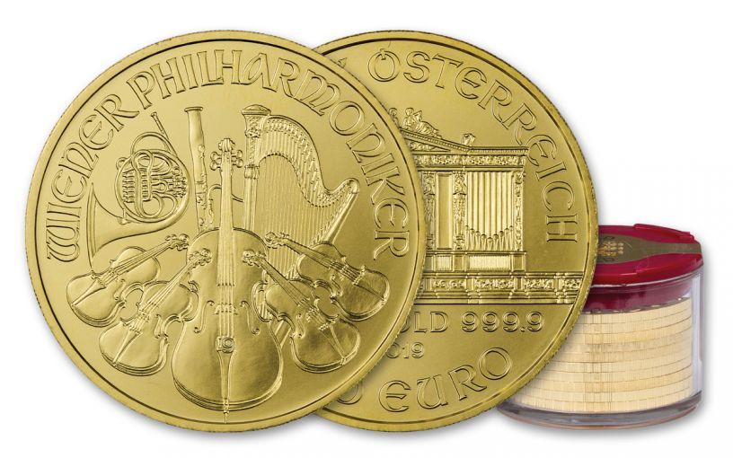 2019 Austria 1-oz Gold Philharmonic BU 10-Piece Roll