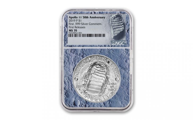 2019-P Apollo 11 50th Anniversary Silver Dollar NGC MS70 First Releases - Moon Core with Mission Patch