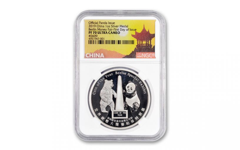 2019 China 1-oz Silver Berlin Money Fair Show Panda NGC PF70UC First Day of Issue