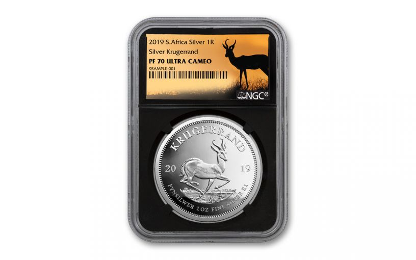 2019 South Africa 1-oz Silver Krugerrand NGC PF70UC - Black Core, Springbok Label