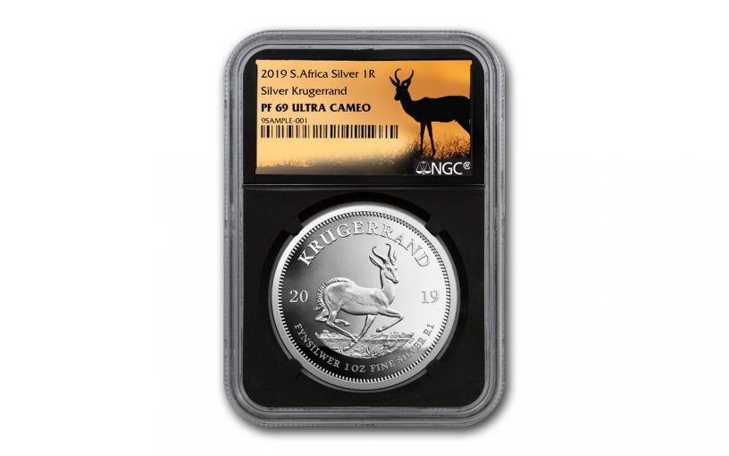 2019 South Africa 1-oz Silver Krugerrand NGC PF69UC - Black Core, Springbok Label