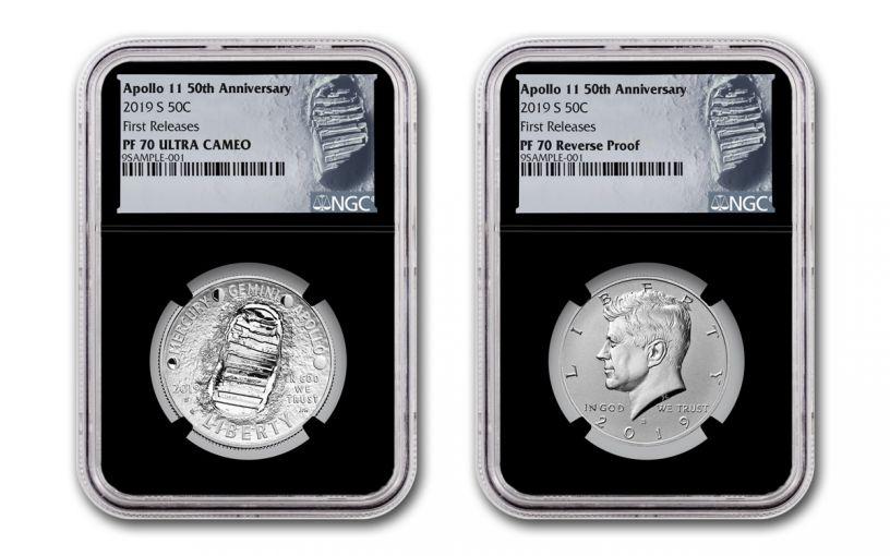 2019-S Apollo 11 50th Anniversary Clad Half Dollar & Kennedy Half Dollar 2-Piece Set NGC PF70 First Releases - Black Core, Astronaut Footprint Labels