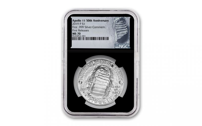 2019-P Apollo 11 50th Anniversary Silver Dollar NGC MS70 First Releases - Black Core, Astronaut Footprint Label