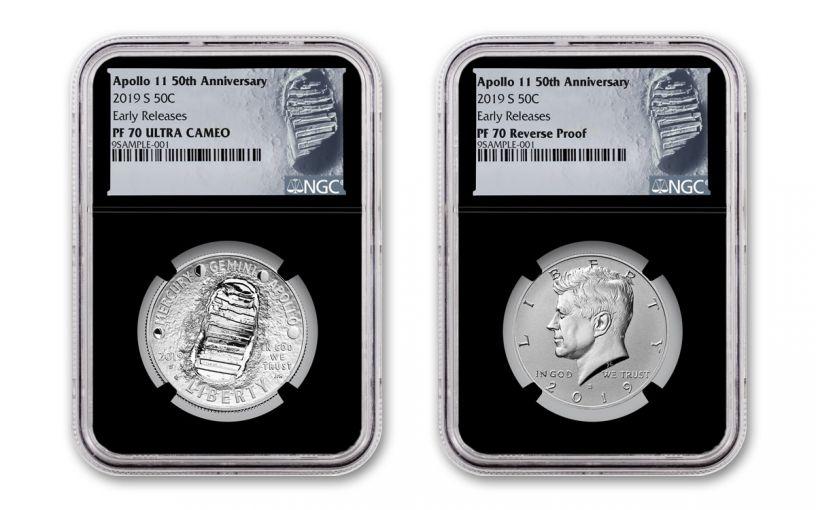 2019-S Apollo 11 50th Anniversary Half Dollar & Kennedy Half Dollar 2-Piece Set NGC PF70 Early Releases - Black Core, Astronaut Footprint Label