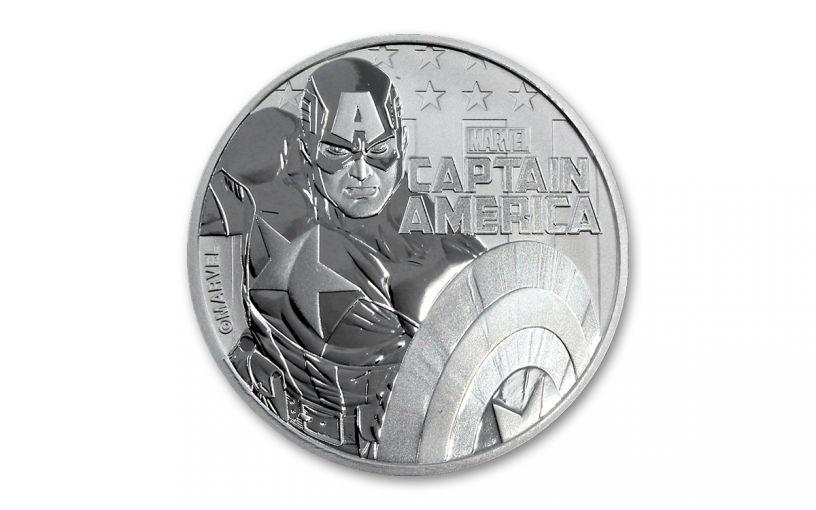 2019 Tuvalu $1 1-oz Silver Captain America BU