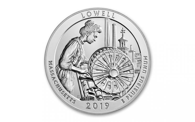 2019 5-oz Silver Quarter America the Beautiful Lowell National Historic Park BU