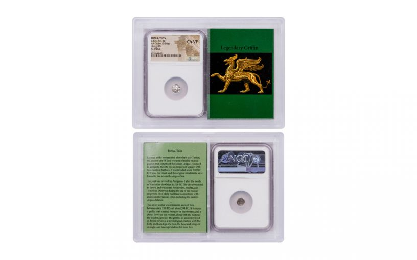 375-294 BC Ancient Greece Ionia Silver Diobol of Teos NGC Ch VF