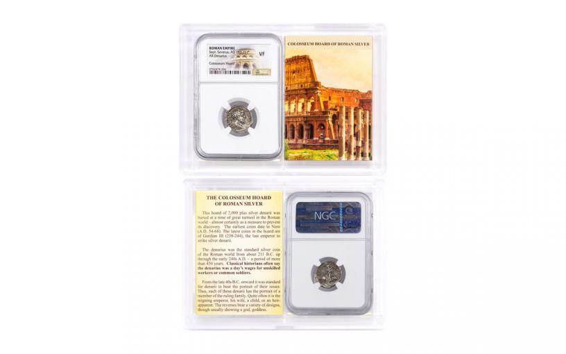AD 193–211 Ancient Roman Silver Denarius of Septimius Severus Colosseum Hoard NGC VF