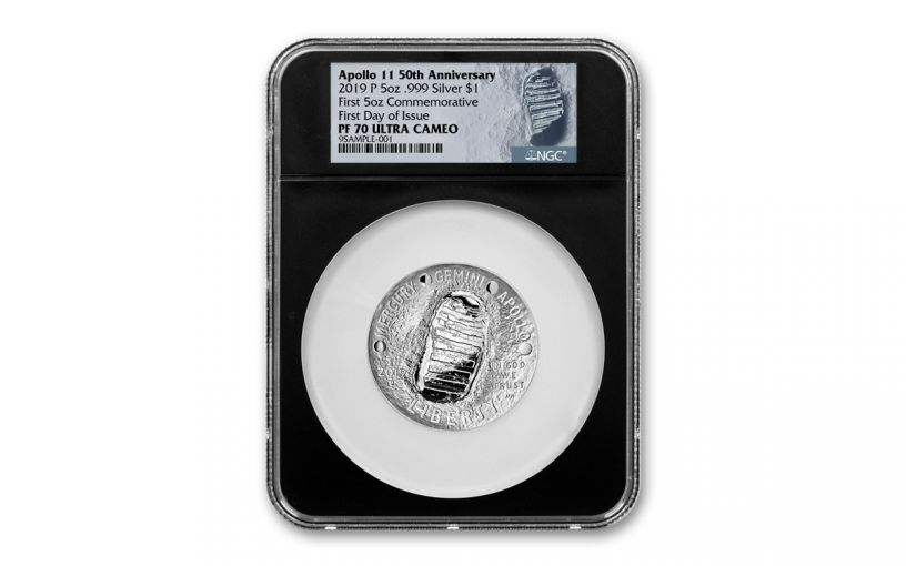 2019-P Apollo 11 50th Anniversary 5-oz Silver Dollar NGC PF70UC First Day of Issue - Black Core, Astronaut Footprint Label