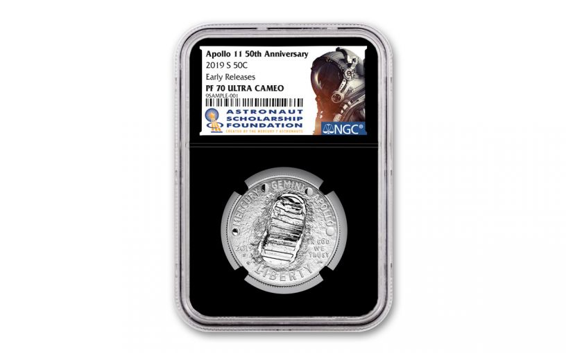2019-S Apollo 11 50th Anniversary Clad Half Dollar NGC PF70UC Early Releases - Black Core, Astronaut Scholarship Foundation Label