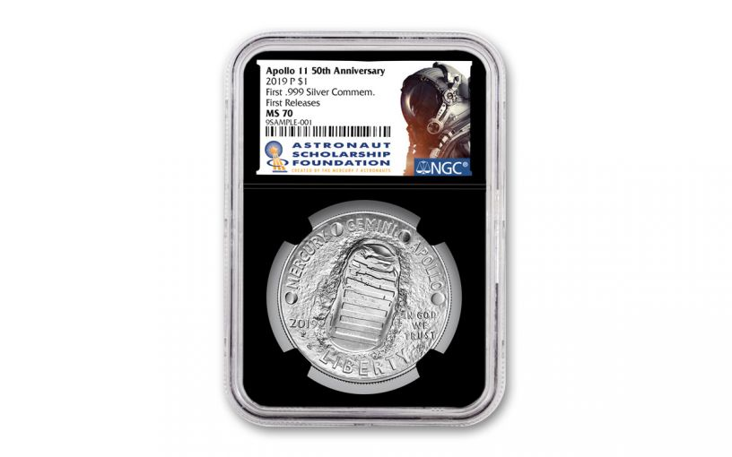 2019-P Apollo 11 50th Anniversary Silver Dollar NGC MS70 First Releases - Black Core, Astronaut Scholarship Foundation Label