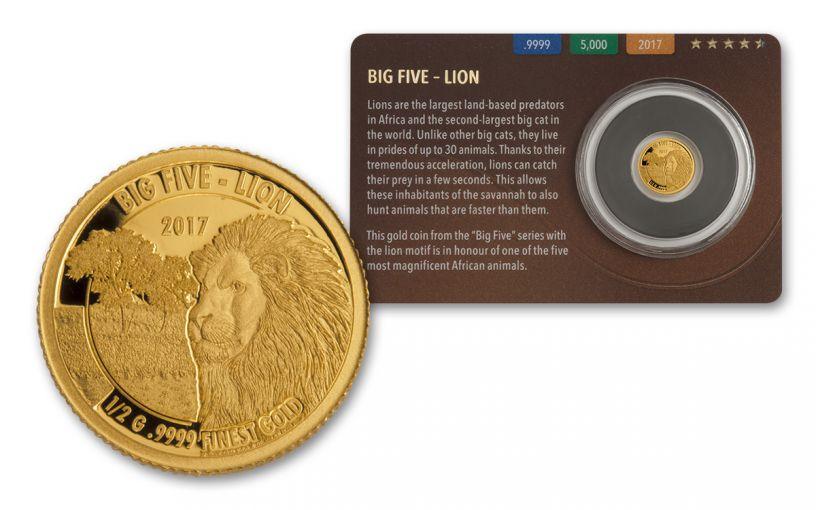 2016 Tanzania Half Gram Gold Big Five - Lion Proof