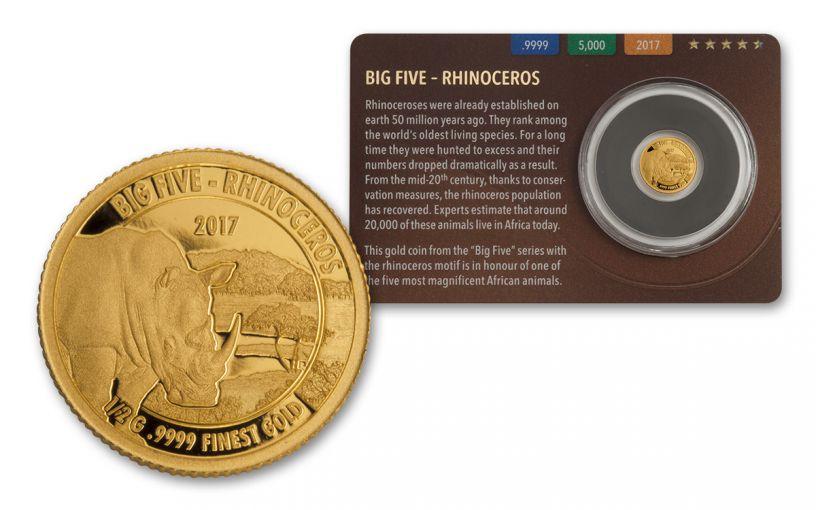 2016 Tanzania Half Gram Gold Big Five - Rhino Proof