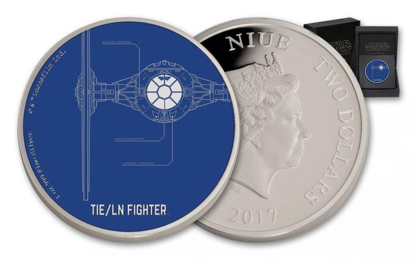 2017 Niue 2 Dollar 1-oz Silver Star Wars Ships TIE/LN Fighter Proof