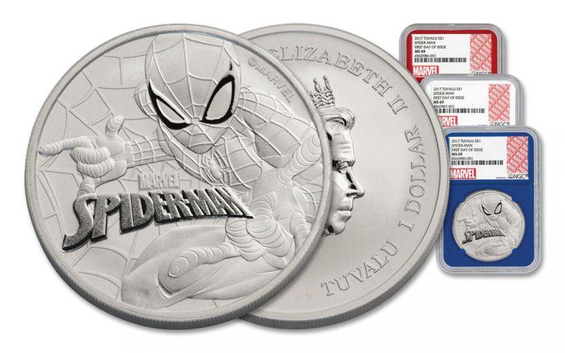 2017 Tuvalu 1 Dollar 1-oz 3-Piece Silver Spiderman NGC MS69- FDI