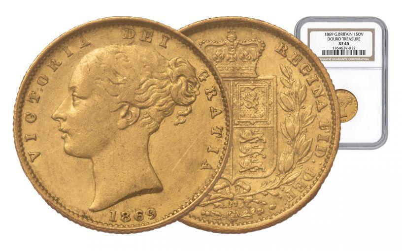 1869 Great Britain Sovereign RMS Douro Treasure NGC- XF45