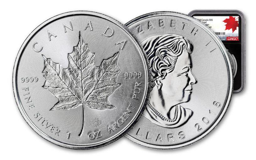2018 Canada 1-oz Silver Incuse Maple Leaf NGC MS69 FDI 30th Anniversary Label - Black