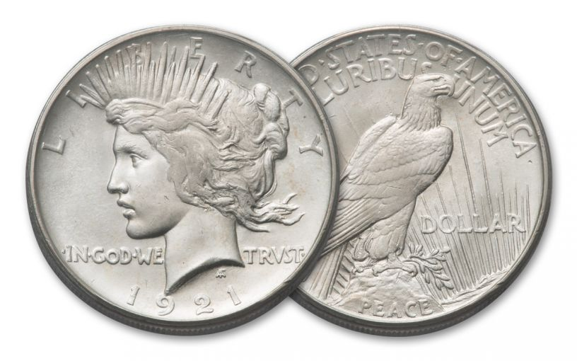 1921-P Peace Silver Dollar High Relief BU