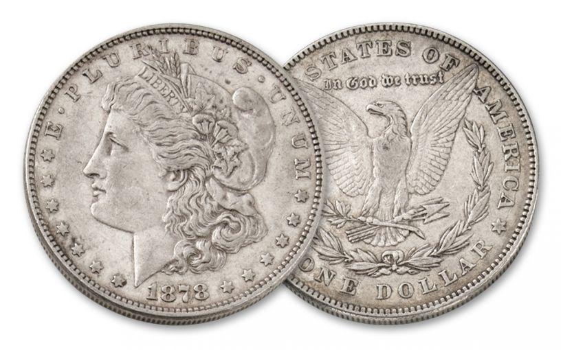 1878-P Morgan Silver Dollar 7 Tail Feathers XF