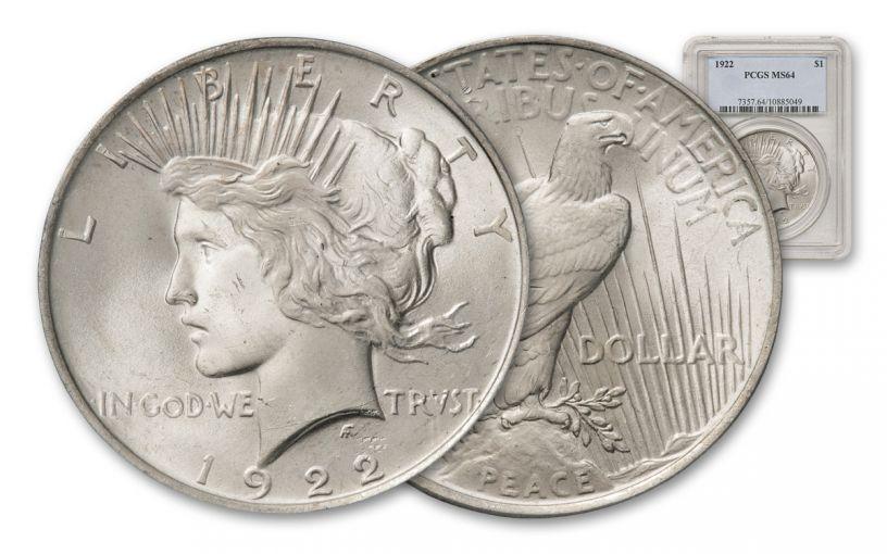 1922-P Peace Dollar PCGS/NGC MS64