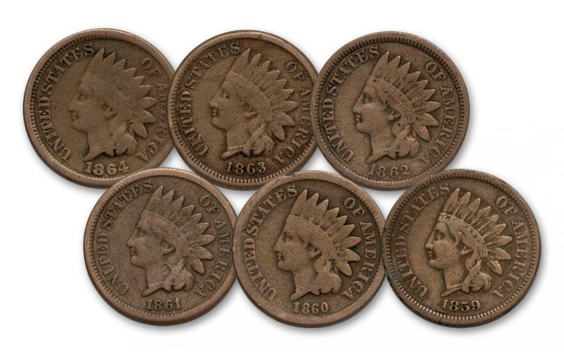 1859-1864 1 Cent Indian Head G-VG 6pc Set