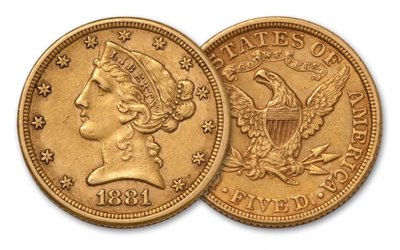 1866-1908 5 Dollar Liberty XF
