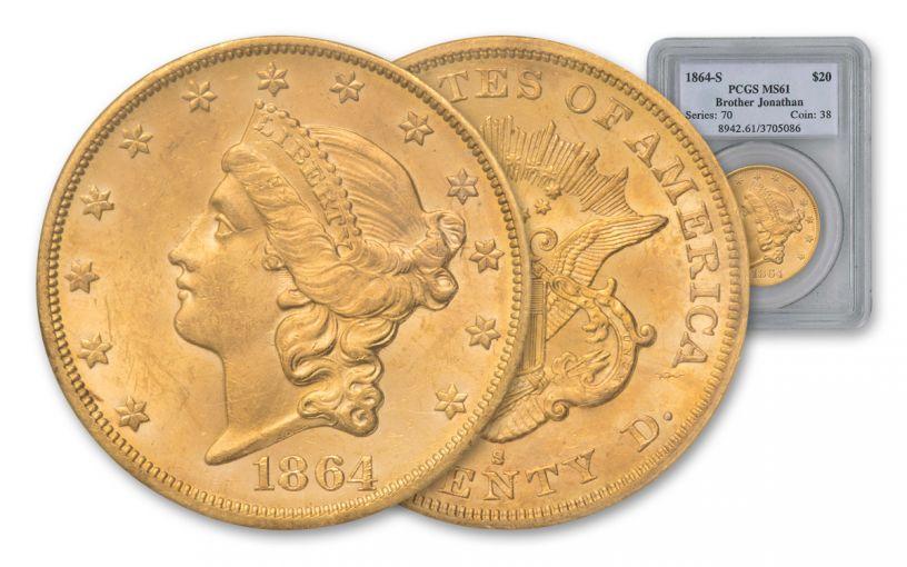 1864-S 20 Dollar Gold Liberty SS Brother Jonathan Shipwreck PCGS MS61