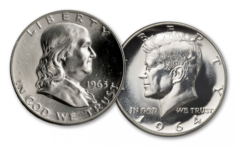 1963-1964 Franklin Kennedy Half Dollar 2 Pc Set