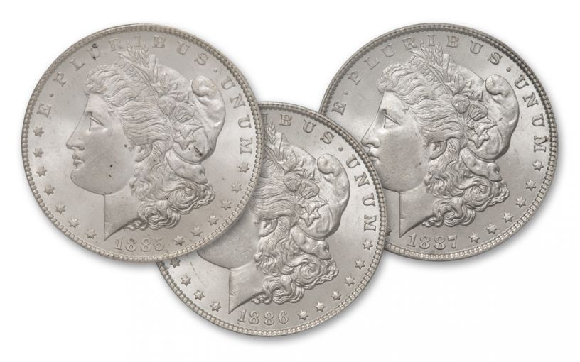 1885-1887-P Morgan Silver Dollar BU 3pc Set