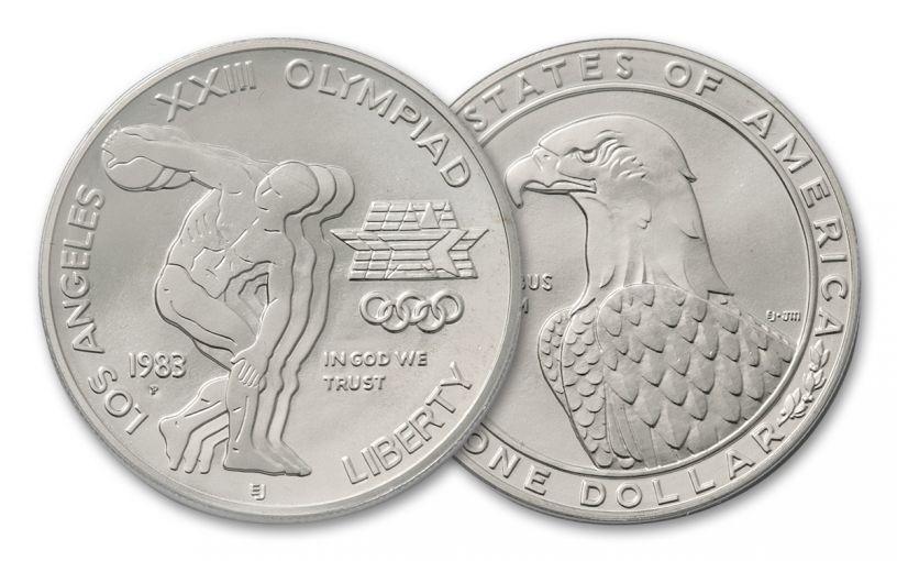 1983-P 1 Dollar Silver Olympic Discus Thrower BU