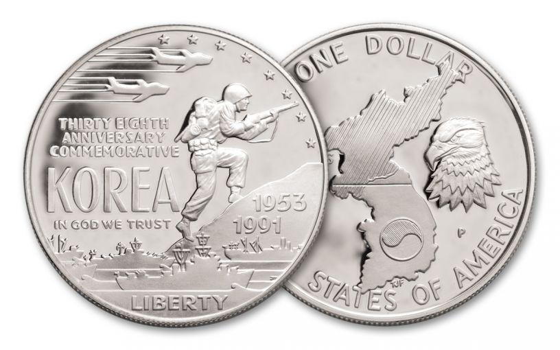 1991-P $1 Silver Korean War Memorial Commemorative Proof