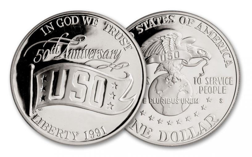 1991-S $1 Silver USO 50th Anniversary Commemorative Proof
