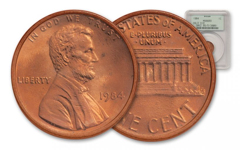 1984 1 Cent Lincoln Double Die PCGS MS66 Red – 100 Greatest