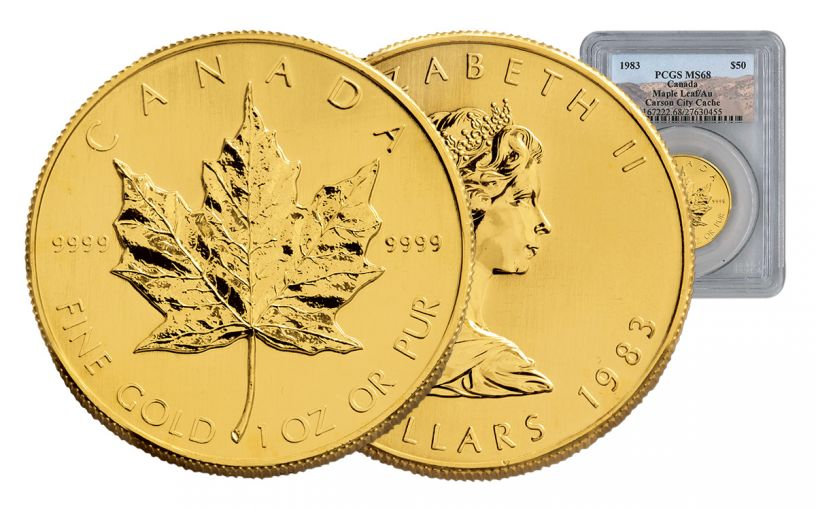 CAN 1983 1-OZ GOLD MAPLE LEAF PCGS-MS68 C.C. CACHE