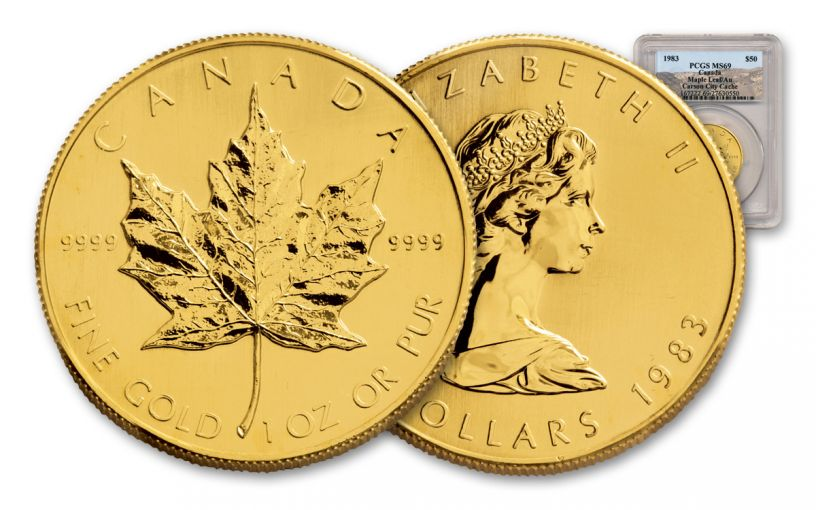 1983 Canada $50 One-Ounce Gold Maple Leaf PCGS MS69 Carson City Cache