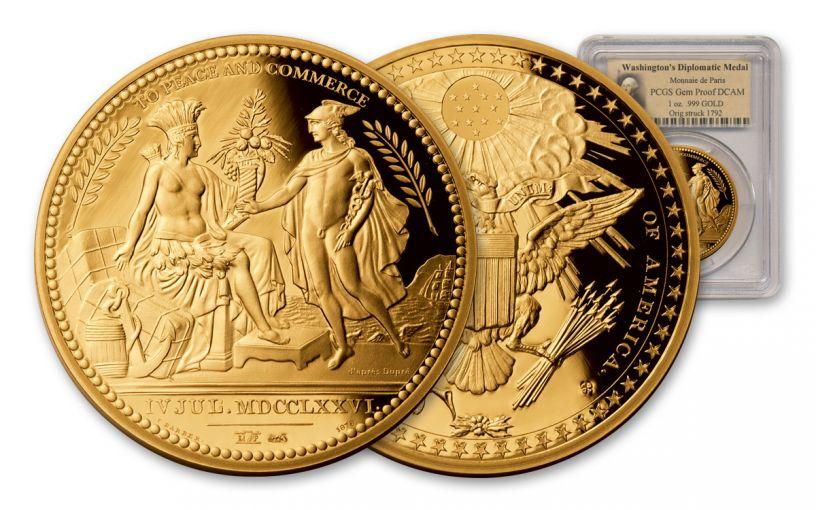 2013 France 1-oz Gold Washington Diplomatic Medal PCGS Gem Proof