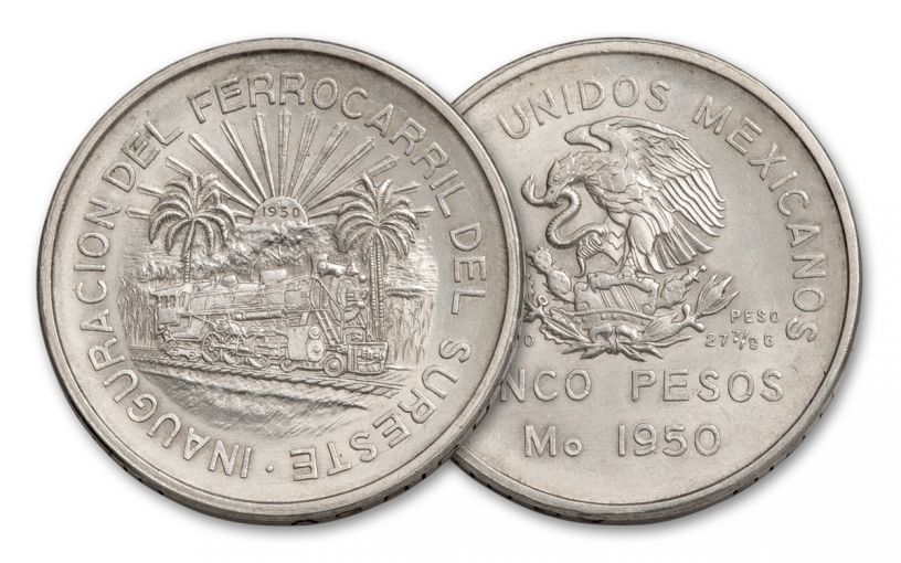 1950 Mexico 5 Pesos Silver Railroad Commemorative AU
