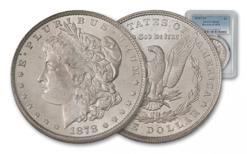 1878-P Morgan Silver Dollar 7 Tail Feathers REV '79 PCGS MS63