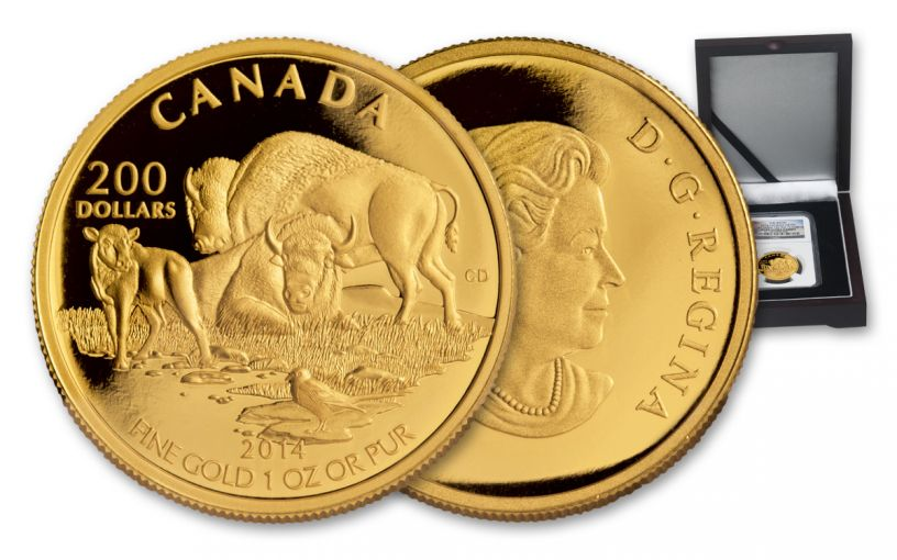 2014 Canada 1-oz Gold Plains Bison NGC PF69