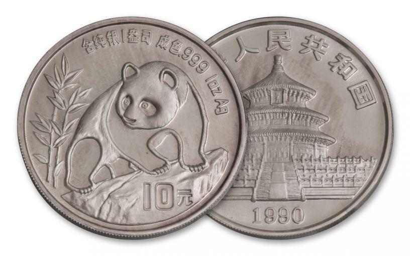 1990 China 1-oz Silver Panda BU