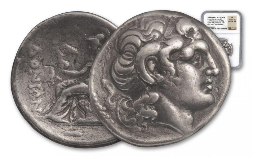 250-230 BC Chalcedon Tetradrachm of Lysimachus NGC VF