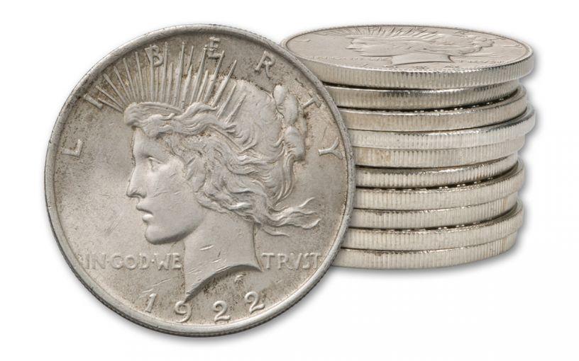 1922-1935 1 Dollar Peace Silver XF 10pc