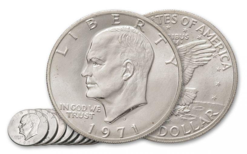 1971-1978 1 Dollar Eisenhower Clad XF-AU 10pc