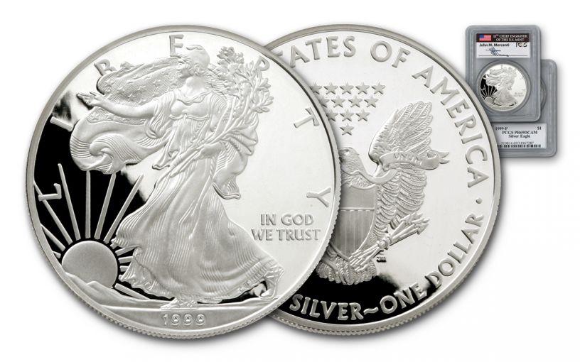 1999 1 Dollar 1-oz Silver Eagle PCGS PR69 Mercanti Signed