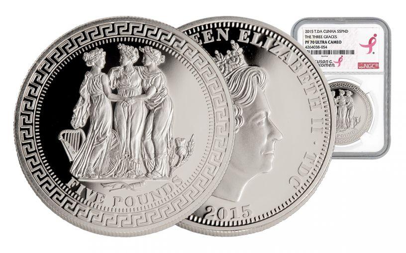2015 Tristan Da Cunha 5 Pound 1-oz Silver Three Graces NGC PF70
